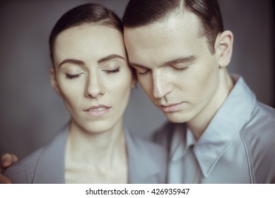 Close up of a young couple with closed eyes