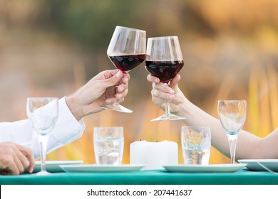 close up of young couple toasting with red wine