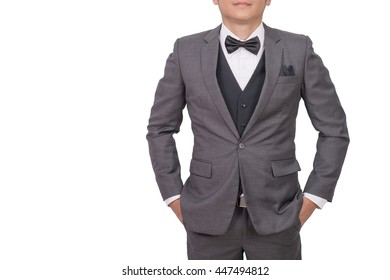 close up of a young elegant handsome business man isolated on white background