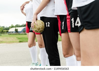 Close up of young female players of handball.
