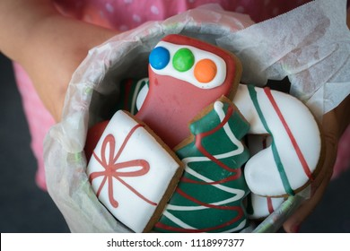 Close Up of Young Girl Offering Tin of Christmas Gingerbread Cookies as Gift