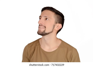 Close up of young latin man. Isolated white background.