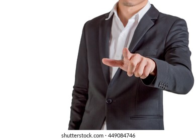 close up of young suited man point with a finger against white background