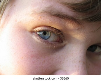 Close up of young teen boy's eye