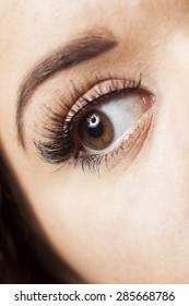 Close up of a young woman's eye, wearing long fake eyelashes
