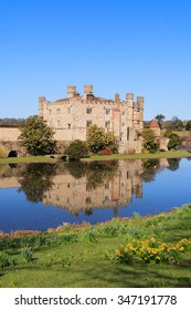 Close-cropped view of Leeds Castle from across moat.