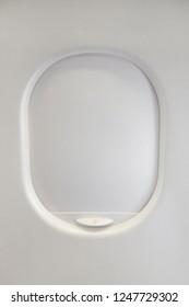 Closed airplane window.