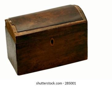 closed antique wood box