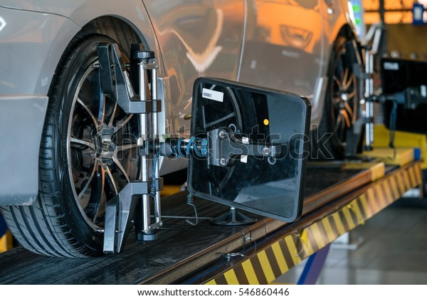 Alignment And Balancing >> Closed Auto Wheel Wheel Alignment Balancing Stock Photo