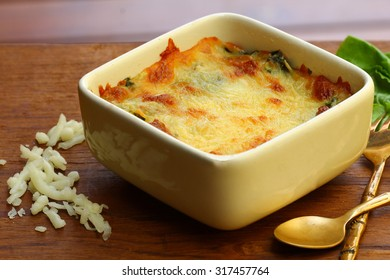 Closed up Baked spinach with cheese.