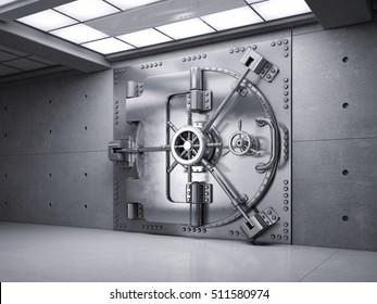 Closed Bank Vault Door. 3d render.