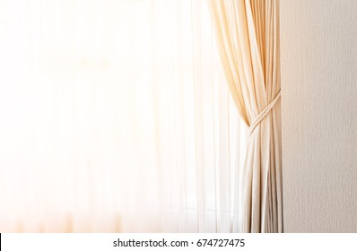 closed up beautiful curtain in daylight cozy room home concept