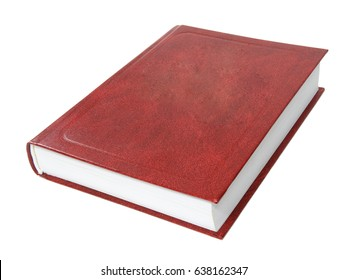 Closed beautiful isolated thick book with a red cover on a white background. A photo