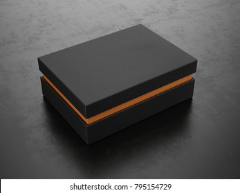 Closed Black Box on black background - Box Mockup, 3d rendering