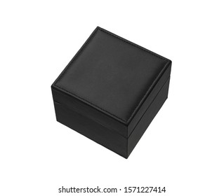 Closed black box sheathed in leather isolate on a white background. Packaging for luxury gift. Blank for applying company or brand logo. Mockup.