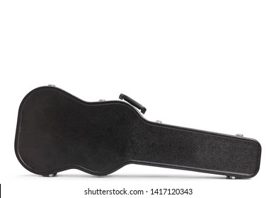 Closed black hard case for an electric guitar isolated on white background