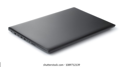 Closed  black laptop isolated on white