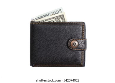 closed  black  leather wallet with cash  dollars isolated
