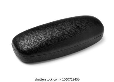 Closed black leatherette eyeglass case, isolated on white background