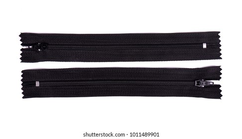 Closed black zipper isolated on white background. Black zipper for tailor sewing.