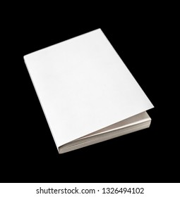 Closed blank book mockup, isolated on black