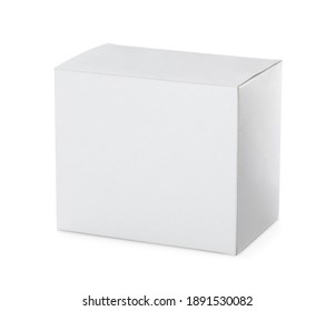 Closed blank cardboard box isolated on white