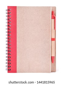 closed blank notebook and pen isolated