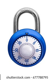 Closed Blue Combination Lock Isolated on White Background.