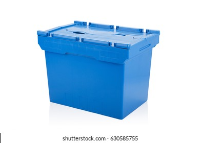 Closed blue plastic box on white background with reflection.