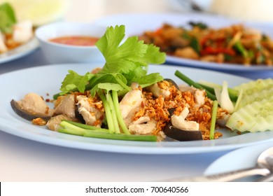 Closed up Boiled fish meat plate, Asian food