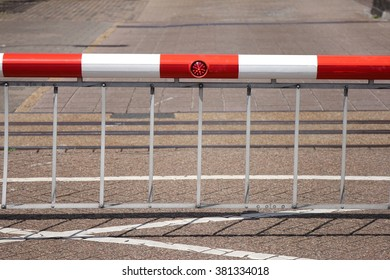 closed boom barrier at sluice