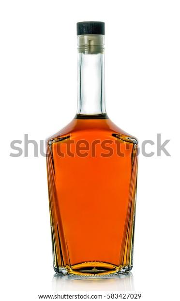 Closed bottle of good brandy.