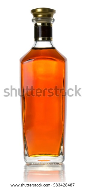 Closed bottle of good strong whiskey.