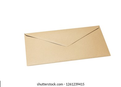 Closed brown envelope isolated on white background