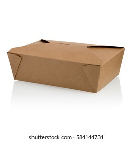 A closed brown unlabeled paper food box