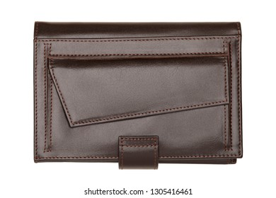 Closed brown wallet isolated on white background. Studio shot