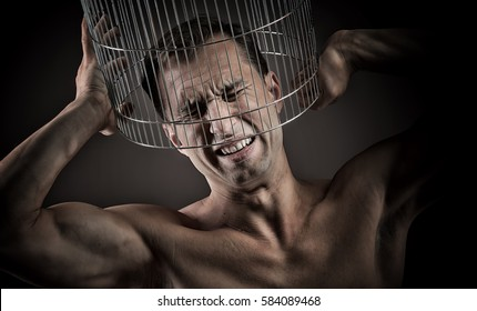 Closed in a cage, concept
