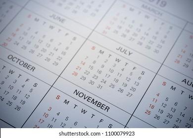 Closed up of calendar 2019