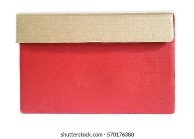 Closed cardboard box and isolated on a white background.