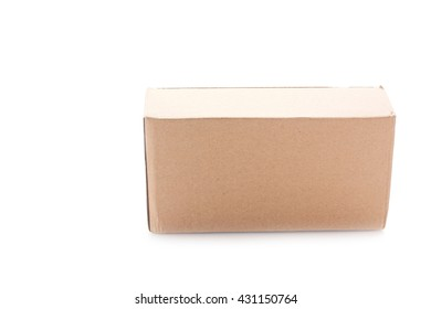 Closed cardboard box on white background.