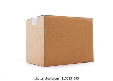 Closed cardboard box taped up isolated on a white background with clipping path.