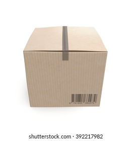 Closed cardboard box taped up and isolated on a white.