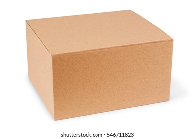 Closed cardboard box taped up and isolated on a white background.