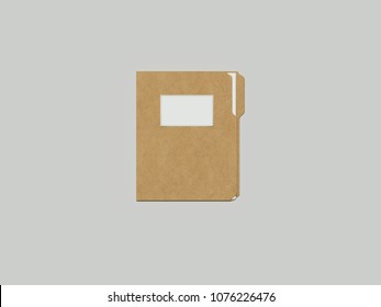 Closed cardboard folder with paper, 3d rendering