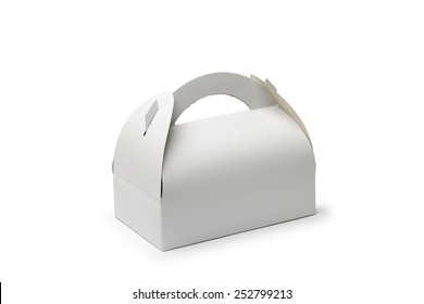 A closed cardboard pastry box isolated on white background. The box can be used to transport cakes and cookies.