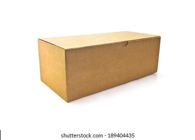 closed carton box on white background