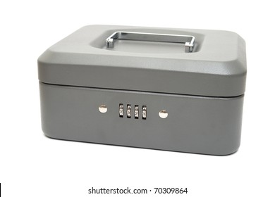 Closed cashbox with a digital code lock. Isolated on white.