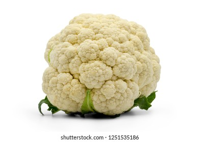 closed up cauliflower isolated on white background