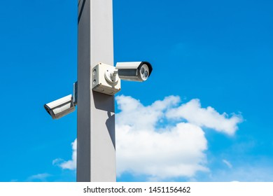 closed circuit camera or security camera on the sky background