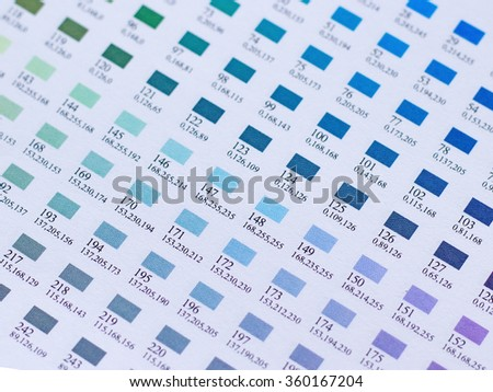 Closed Color Charts Cyan Shade Stock Photo Edit Now 360167204